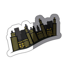 Sticker buildings and cityscape side scene icon vector