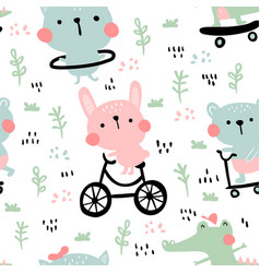 Summer animals pattern vector