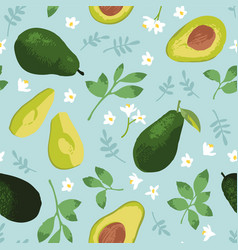 summer pattern with avocado vector image