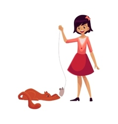 Teenage girl standing and playing with cat using vector image