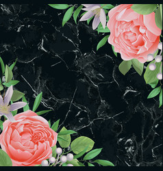 Template with flowers and greenery on black marble vector