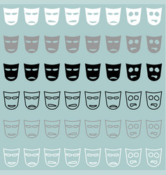 Theatrical mask white grey black icon vector