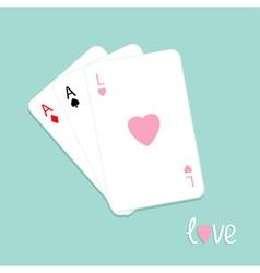 Three card stuck love pink Flat vector image