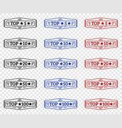 top 5 10 20 50 100 set of stamp vector image