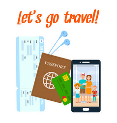 Traveling abroad poster with lettering vector
