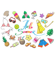 tropical beach vacation sketch elements vector image