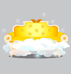 vintage golden sofa with clouds isolated on grey vector image