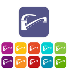 Water tap icons set vector