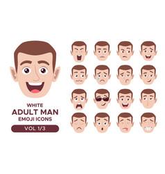 White adult man emoji icon set 1 3 vector