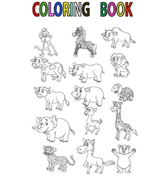 Wild animal coloring book vector image