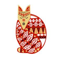 wood fox with handmade ornament scandinavian vector image