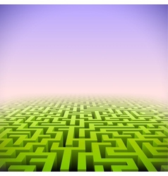 Abstract green perspective labyrinth in pink mist vector image vector image
