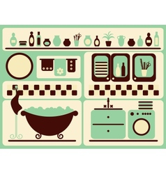 Bath room and bathing objects set vector image vector image