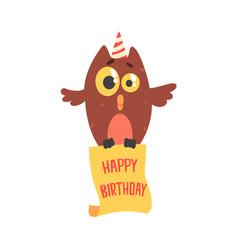 cute cartoon owl in a party hat happy birthday vector image