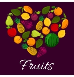 Fruits poster in heart shape vector image