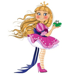 Little blond princess with frog vector image vector image