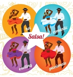 Salsa party or dance school poster with dancing vector