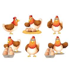 Six hens vector image
