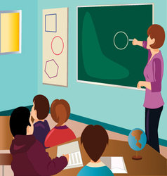teacher-with-students vector image