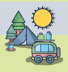van with travel thing and camp vector image vector image