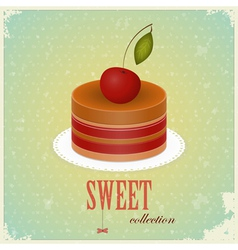 vintage chocolate cake vector image vector image