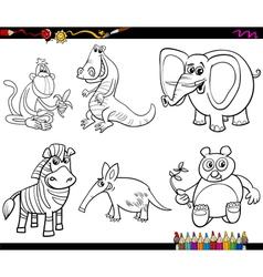 wild animals set coloring page vector image vector image