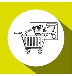 shopping cart and Digital marketing design vector image