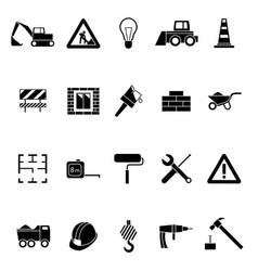 silhouette black construction icon set vector image vector image