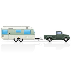 car pickup with trailer 04 vector image vector image