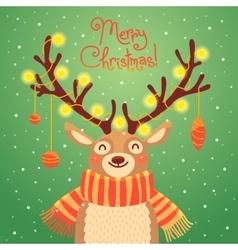 Christmas card Cute cartoon deer with garlands on vector image vector image