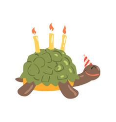 cute cartoon tortoise happy birthday colorful vector image vector image