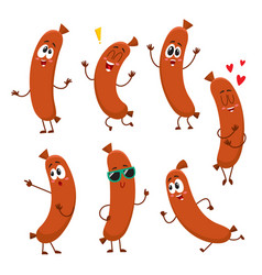 cute funny sausage characters with human face vector image vector image