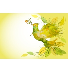 Flying Green Dove - horizontal background vector image