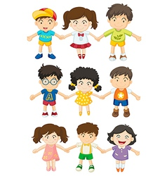 Kids holding their hands vector image vector image