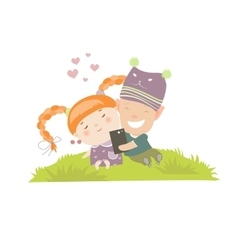 Young couple making self-portrait vector image