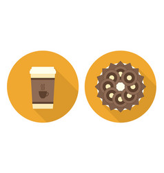 Flat cup of coffee plate with cookies and wafers vector