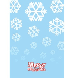 Happy Christmas card Falling snowflakes on blue vector image