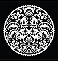Polish folk art embroidery pattern with roosters vector image vector image