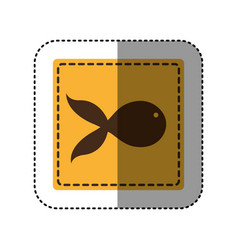 sticker yellow square with fish icon vector image vector image