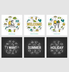 summer round banners - trip and vacation vector image vector image