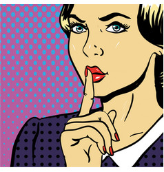 young woman showing be silent sign pop art comic vector image vector image