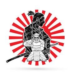 2 samurai composition cartoon vector