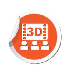 3d cinema icon orange sticker vector image