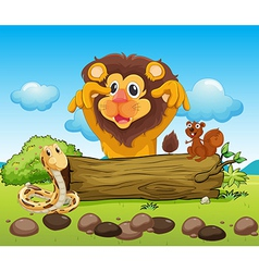 A scary lion a snake and a small squirrel vector image