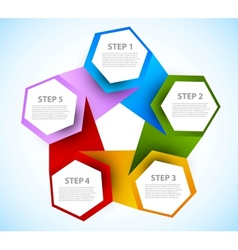 Abstract diagram with hexagons vector