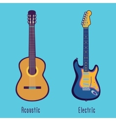 Acoustic and electric guitar in color vector