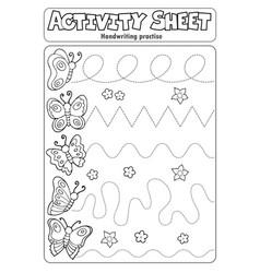 Activity sheet handwriting practise topic 3 vector