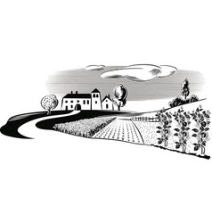 Agricultural landscape with a farm vector