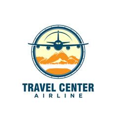 Airline airplane travel agency logo design vector