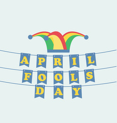 April fools day festive background with hat with vector